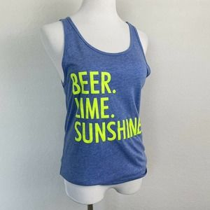 Mecca Fox Blue Beer Lime Sunshine Graphic Tank S